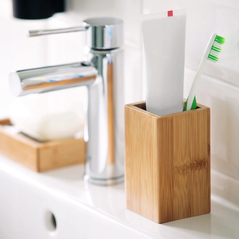 Zestaw łazienkowy 5 Elementowy Bambus Stal Nierdzewna Szczotka Do Wc