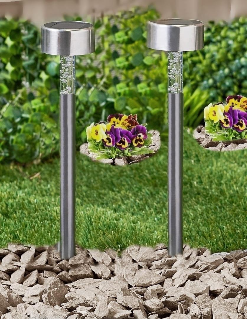Lampa solarna inox 35 cm zestaw 4 sztuk zmienia kolory