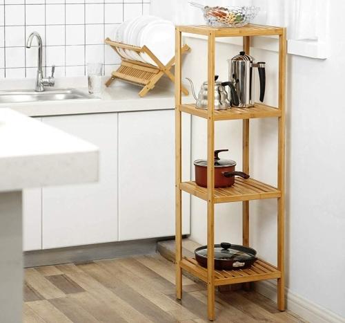 Regał Do łazienki Kuchni Stojak łazienkowy 4 Poziomowy Bambus 110cm